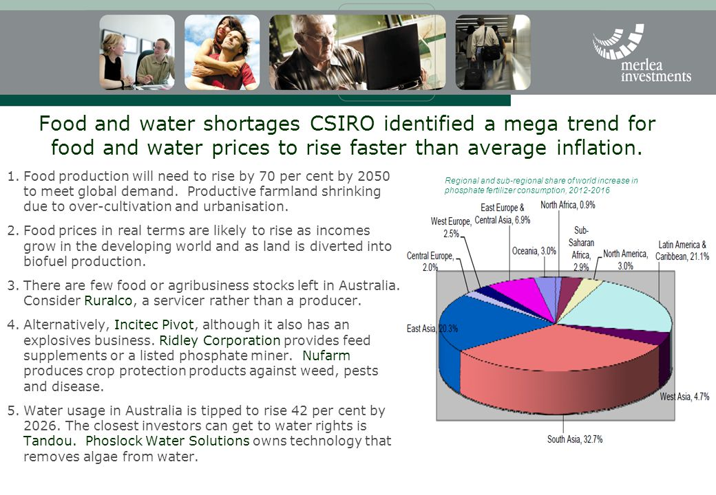 Food and water shortages CSIRO identified a mega trend for food and water prices to rise faster than ­average inflation.