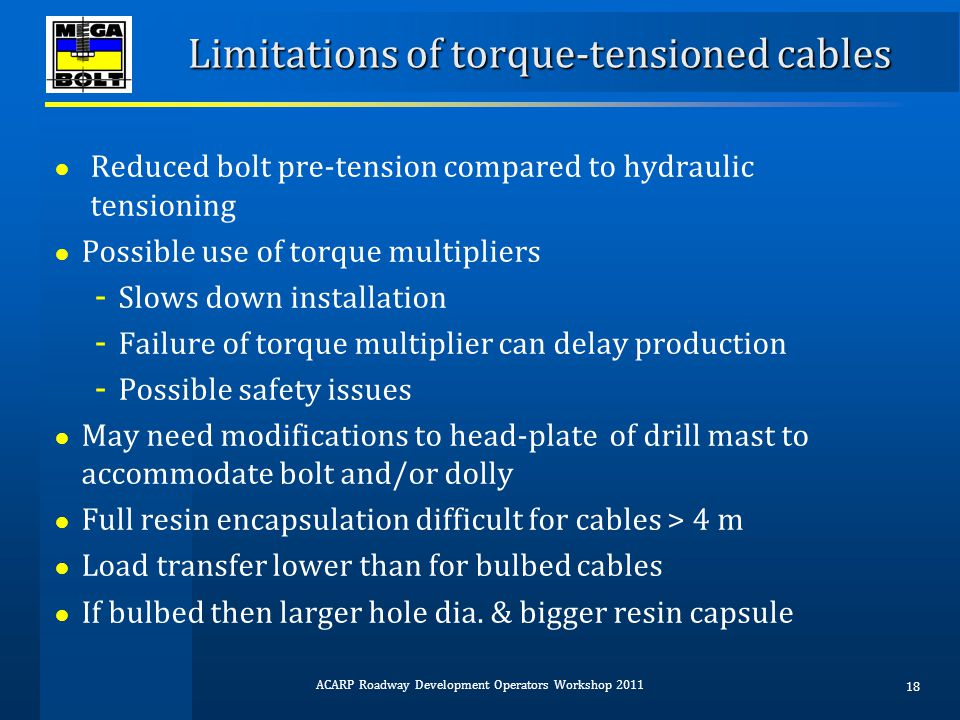 Limitations of torque-tensioned cables