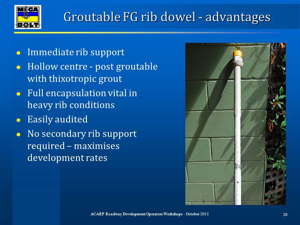 Groutable FG rib dowel - advantages