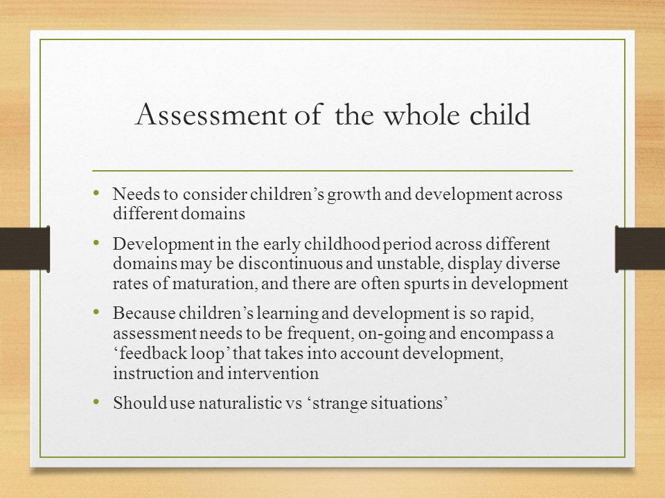 Assessment of the whole child