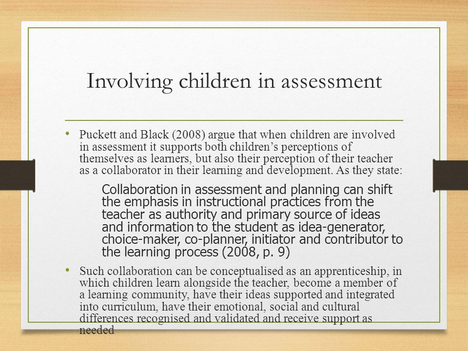 Involving children in assessment