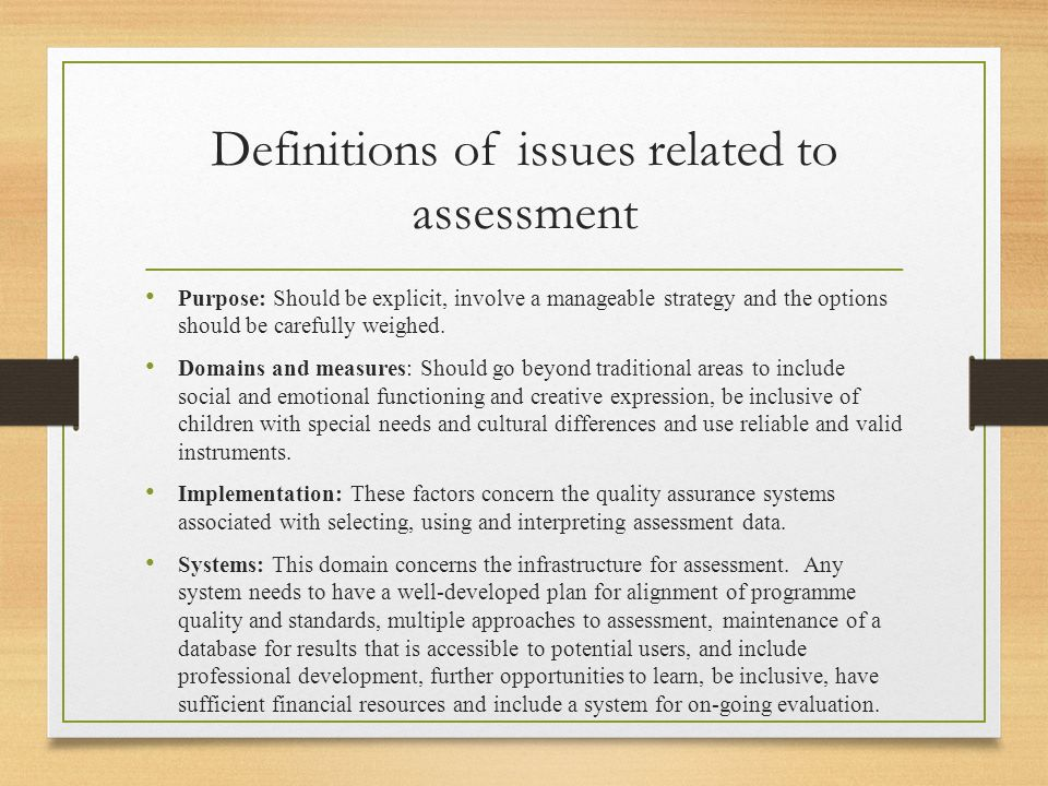 Definitions of issues related to assessment