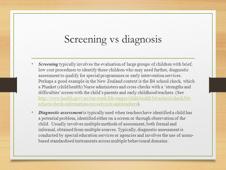 Screening vs diagnosis