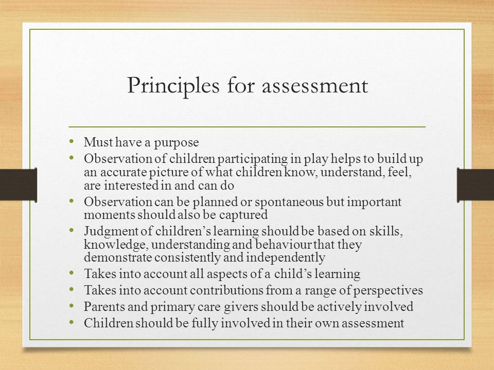Principles for assessment