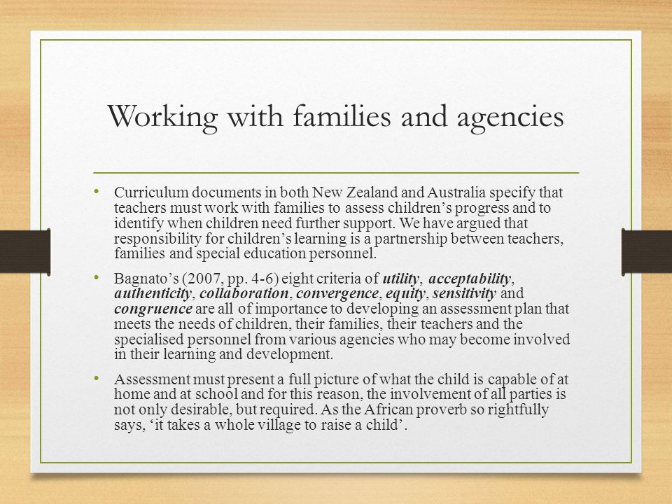 Working with families and agencies