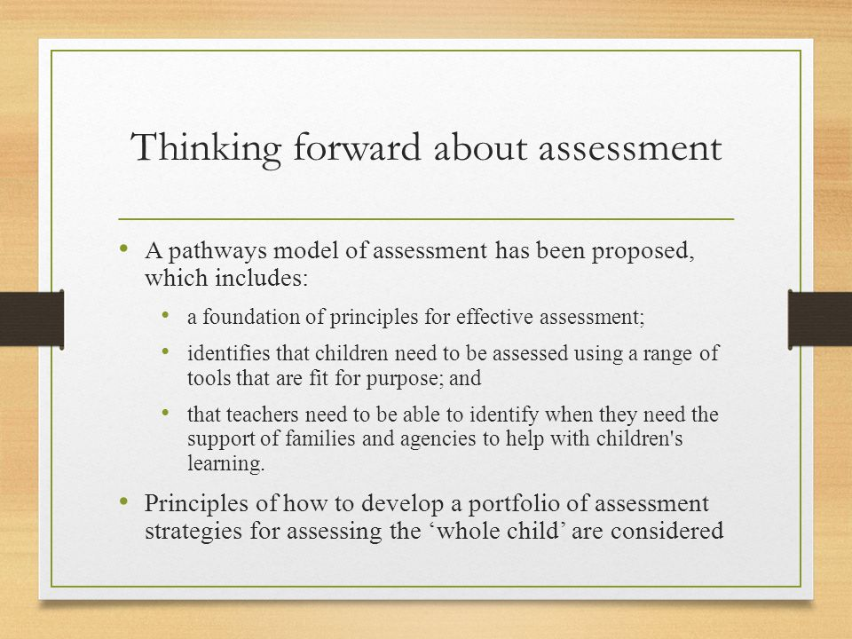 Thinking forward about assessment