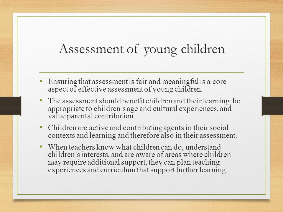 Assessment of young children