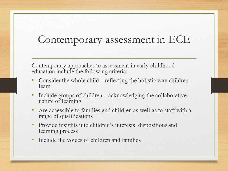 Contemporary assessment in ECE