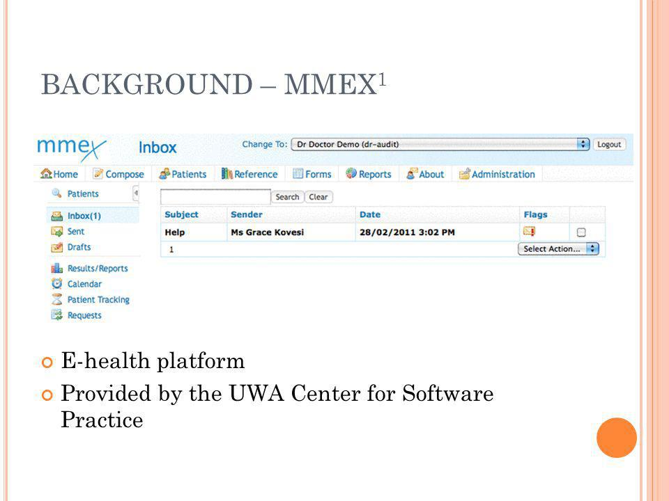 BACKGROUND – MMEX1 E-health platform