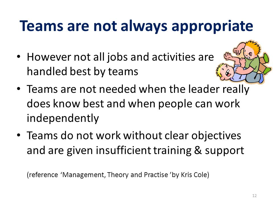 Teams are not always appropriate