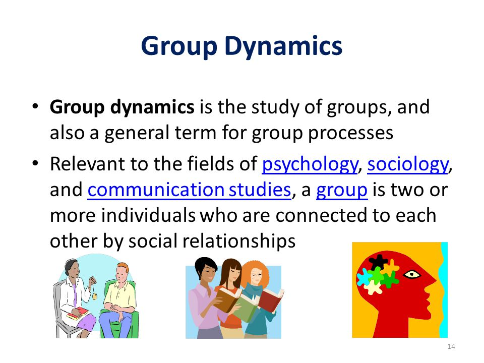 Group Dynamics Group dynamics is the study of groups, and also a general term for group processes.