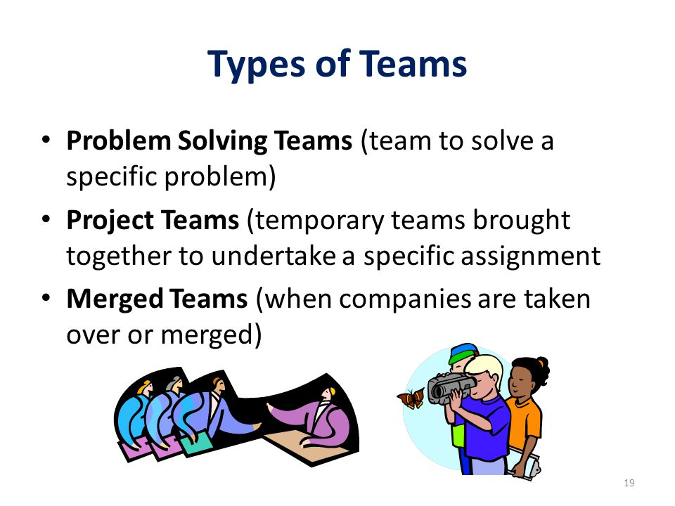 Types of Teams Problem Solving Teams (team to solve a specific problem)