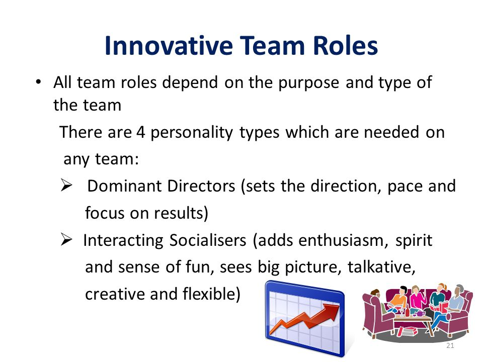 Innovative Team Roles All team roles depend on the purpose and type of the team. There are 4 personality types which are needed on.
