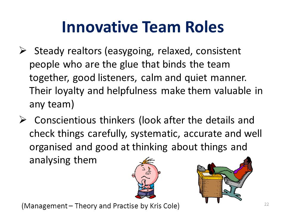 Innovative Team Roles (Management – Theory and Practise by Kris Cole)