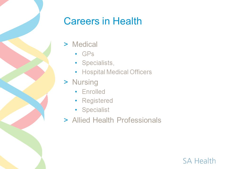 Careers in Health Medical Nursing Allied Health Professionals GPs
