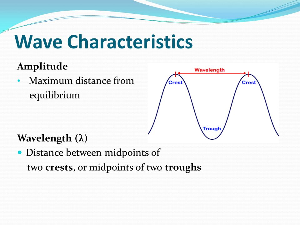 Wave Characteristics Amplitude Maximum distance from equilibrium