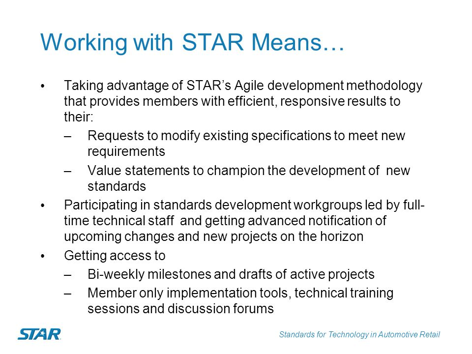 Working with STAR Means…