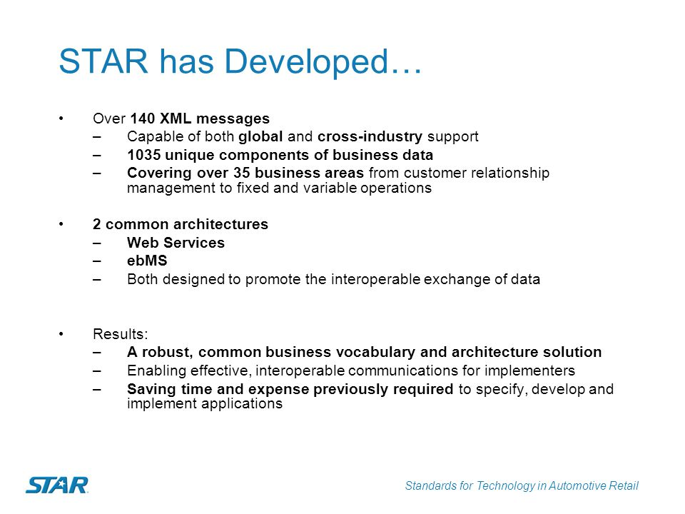 STAR has Developed… Over 140 XML messages