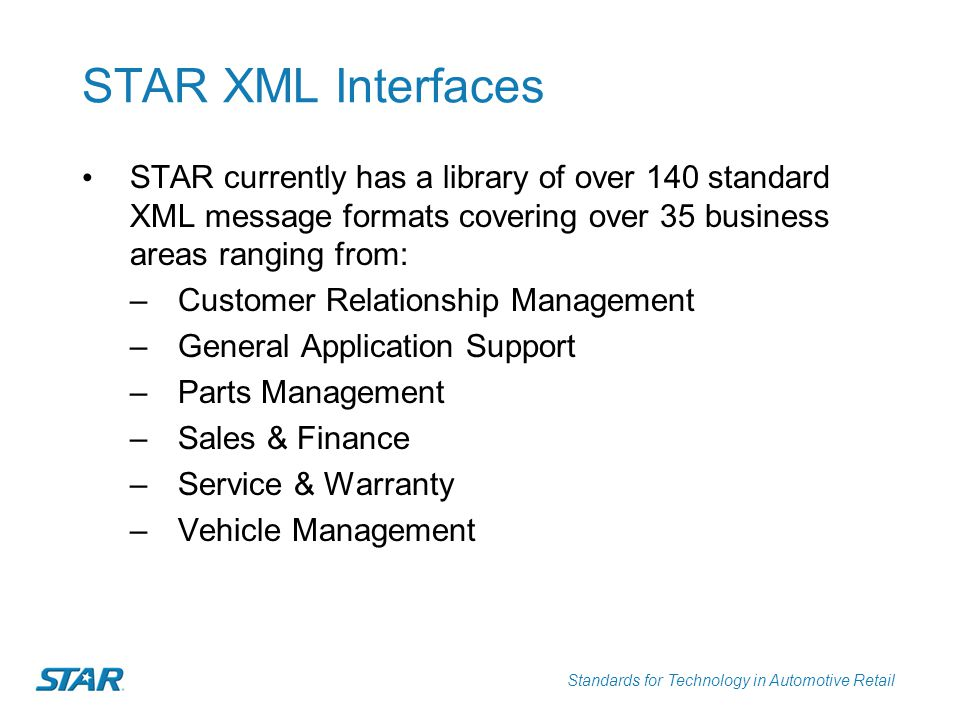 STAR XML Interfaces STAR currently has a library of over 140 standard XML message formats covering over 35 business areas ranging from: