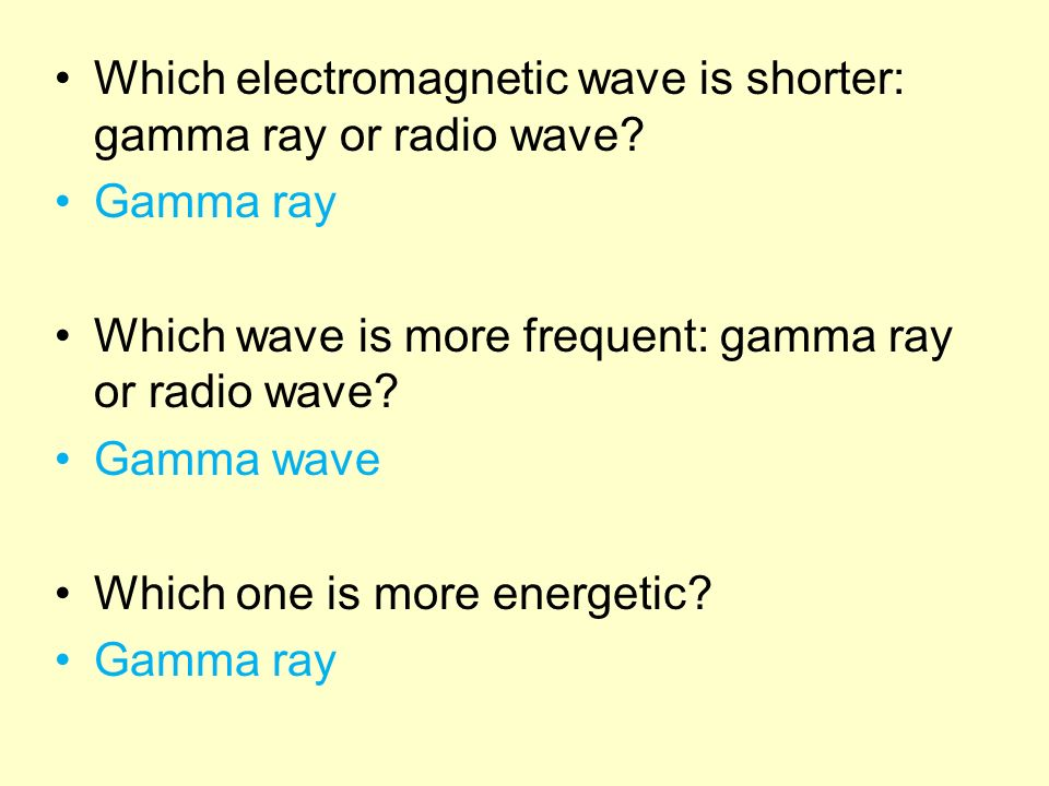 Which electromagnetic wave is shorter: gamma ray or radio wave