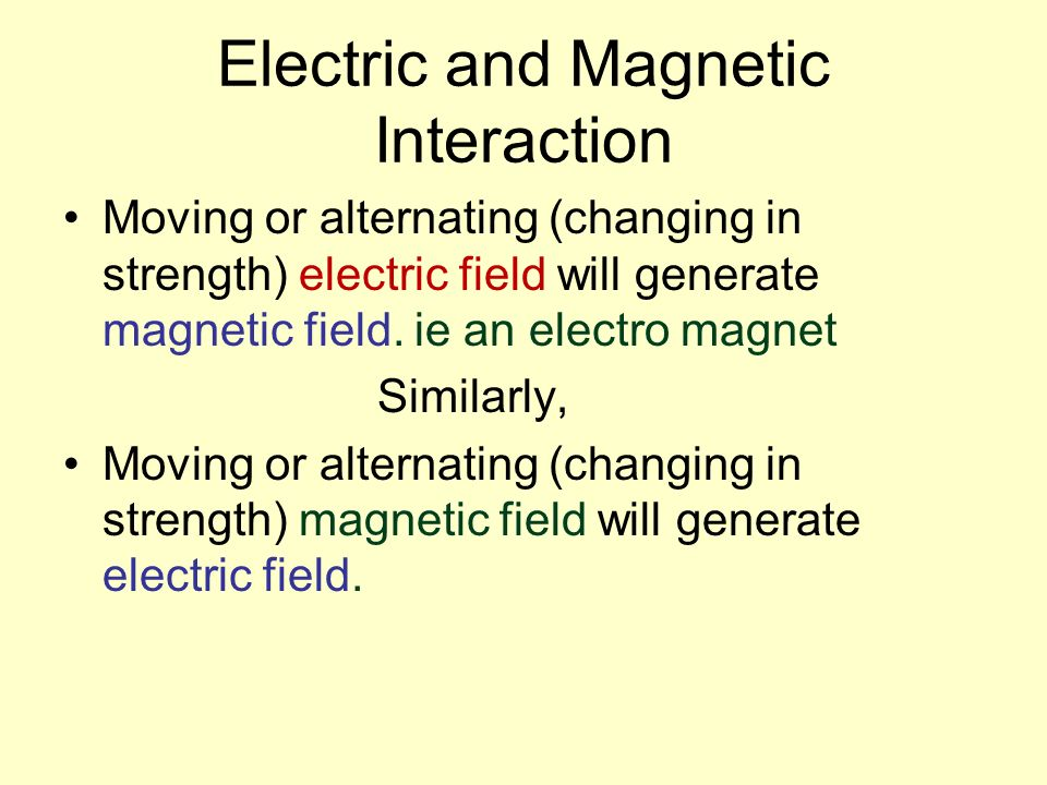 Electric and Magnetic Interaction