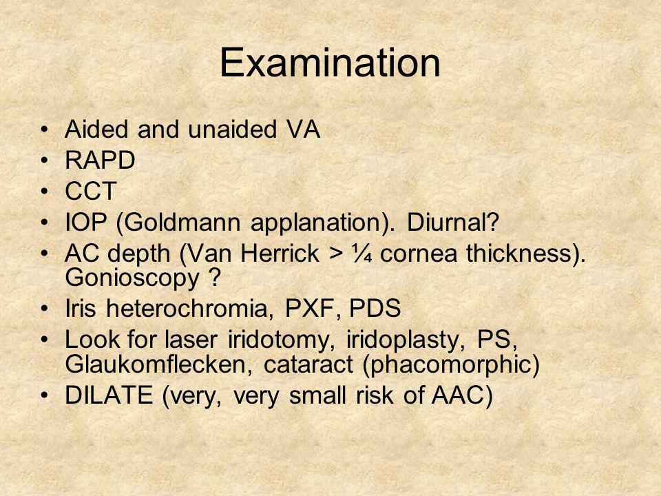 Examination Aided and unaided VA RAPD CCT