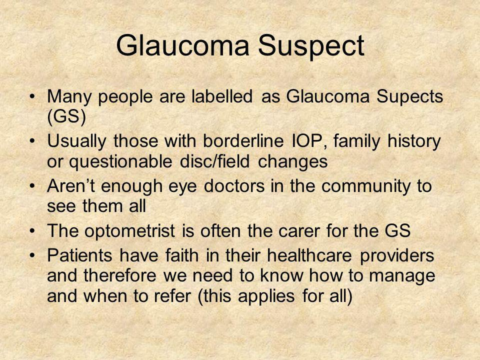 Glaucoma Suspect Many people are labelled as Glaucoma Supects (GS)