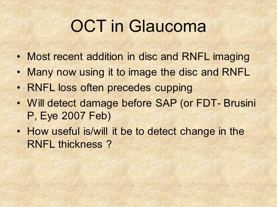 OCT in Glaucoma Most recent addition in disc and RNFL imaging