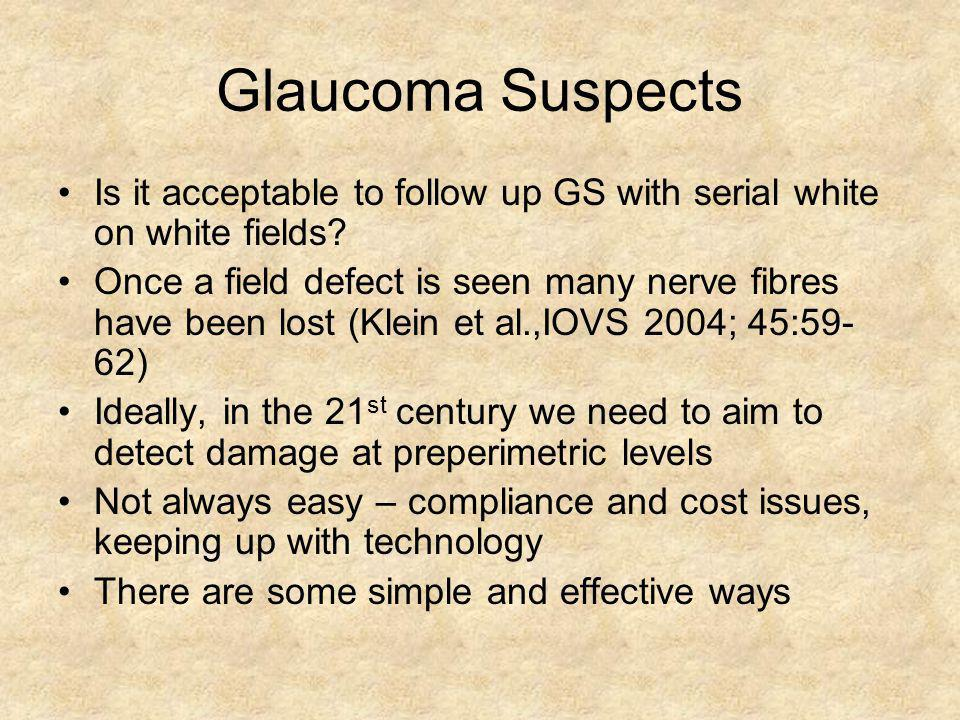 Glaucoma Suspects Is it acceptable to follow up GS with serial white on white fields