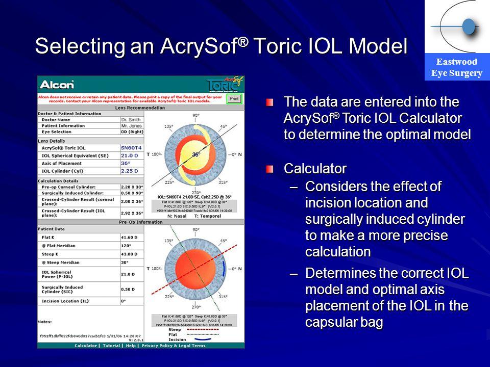 Selecting an AcrySof® Toric IOL Model