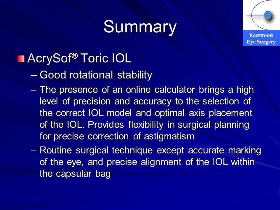 Summary AcrySof® Toric IOL Good rotational stability