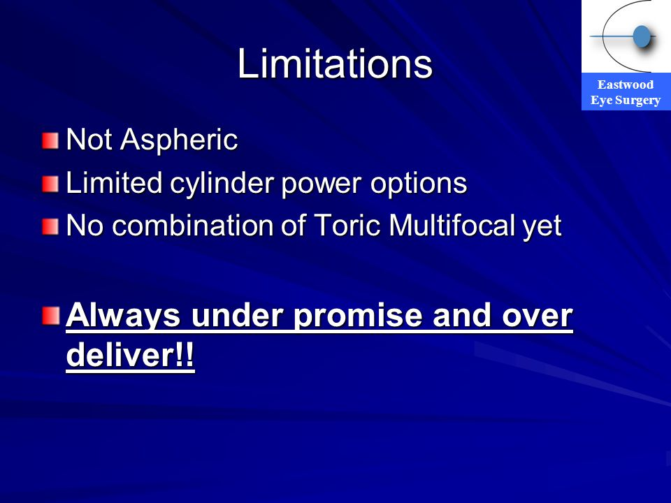 Limitations Always under promise and over deliver!! Not Aspheric