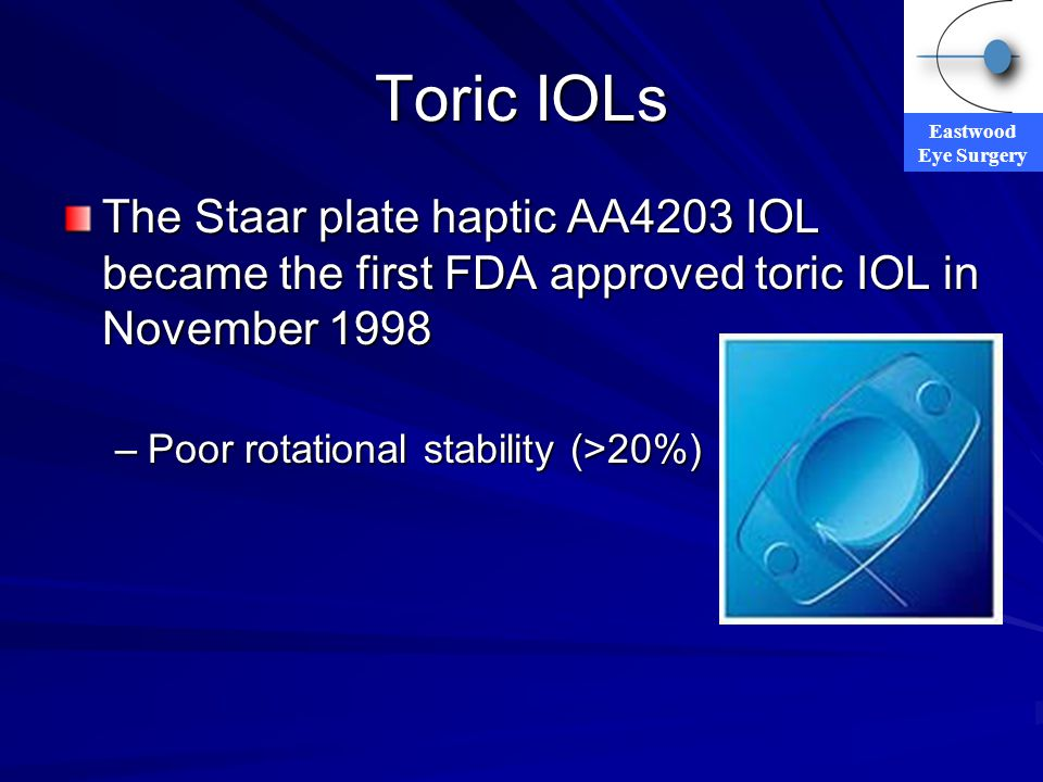 Toric IOLs The Staar plate haptic AA4203 IOL became the first FDA approved toric IOL in November 1998.