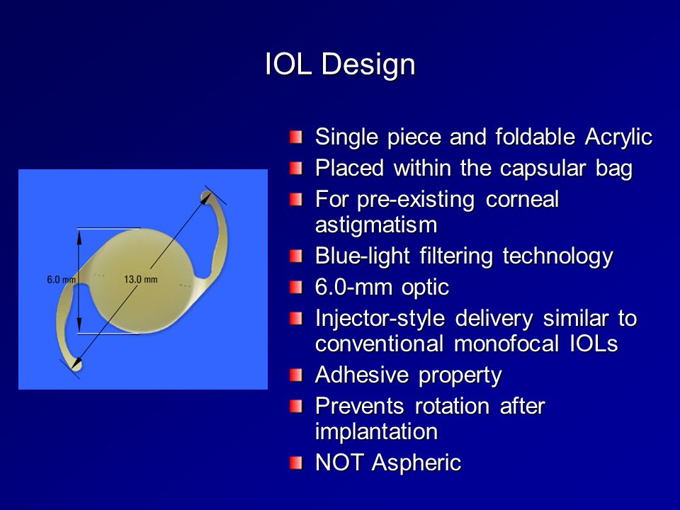 IOL Design Single piece and foldable Acrylic