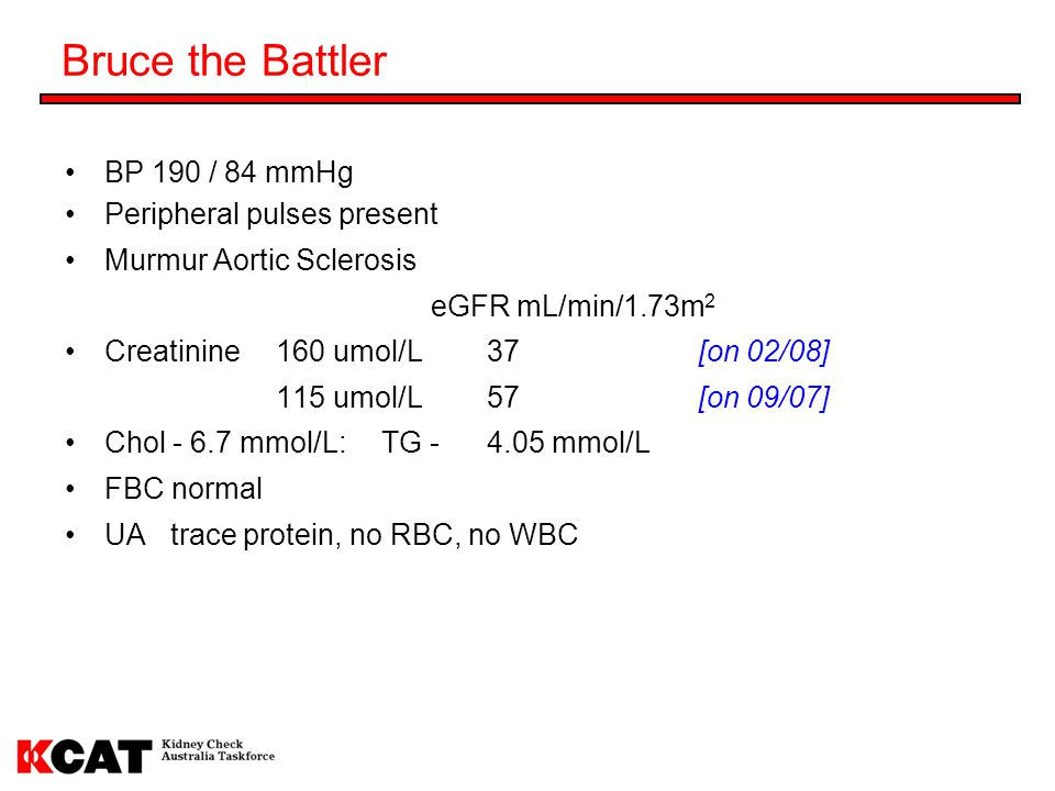 Bruce the Battler BP 190 / 84 mmHg Peripheral pulses present