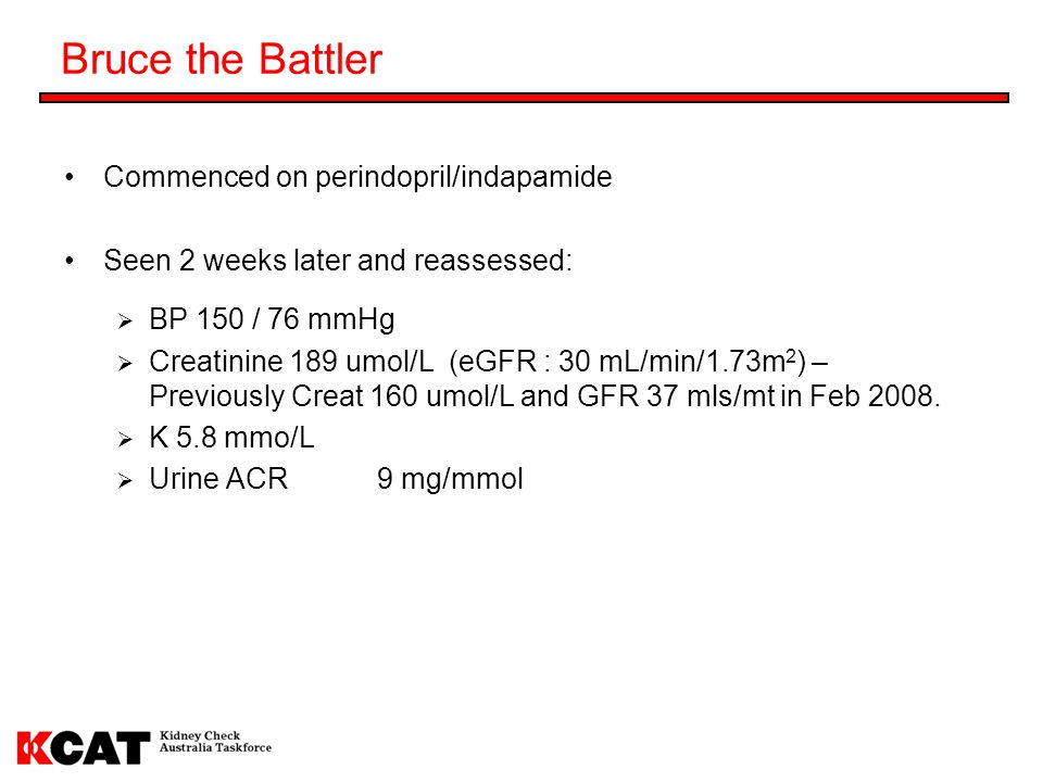 Bruce the Battler Commenced on perindopril/indapamide