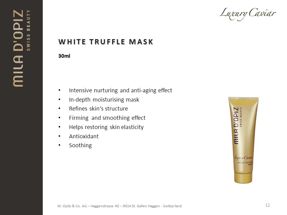 WHITE TRUFFLE MASK Intensive nurturing and anti-aging effect