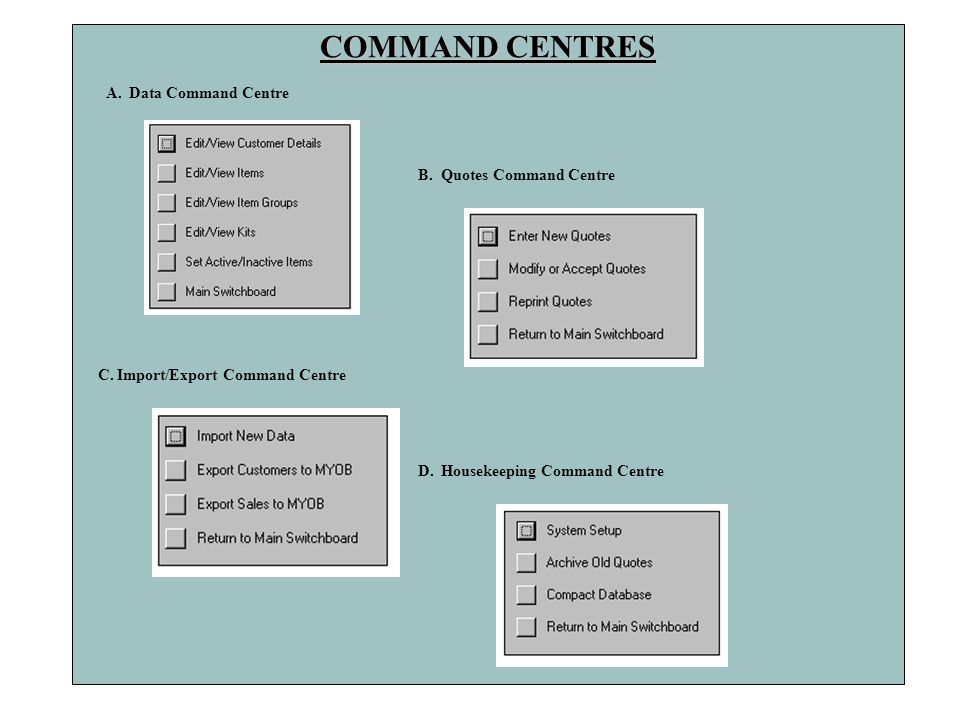 COMMAND CENTRES A. Data Command Centre B. Quotes Command Centre
