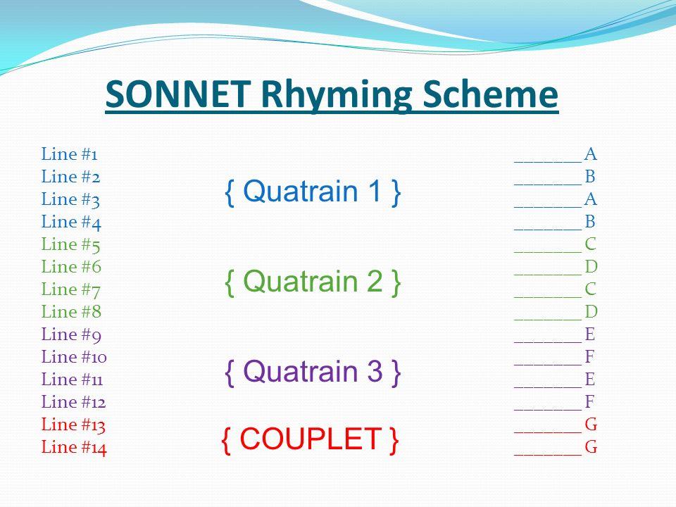 SONNET Rhyming Scheme { COUPLET } Line #1 _______ A Line #2 _______ B