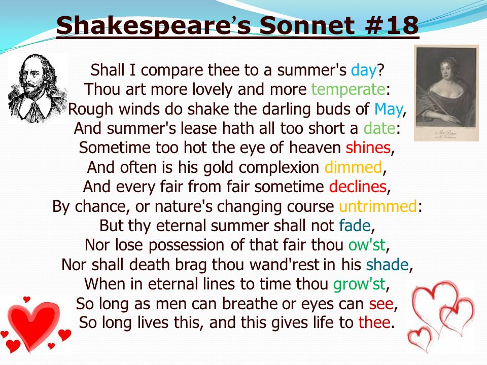 a report on sonnet 18 by william shakespeare The embedded audio player requires a modern internet browser you should visit browse happy and update your internet browser today shall i compare thee to a summer's day.