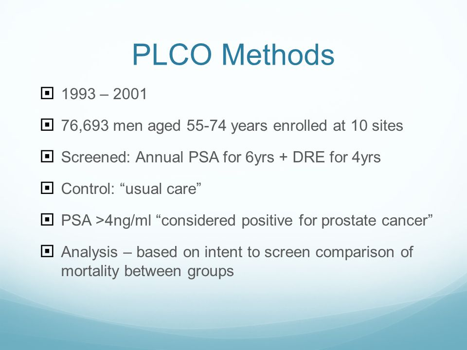 PLCO Methods 1993 – 2001. 76,693 men aged 55-74 years enrolled at 10 sites. Screened: Annual PSA for 6yrs + DRE for 4yrs.