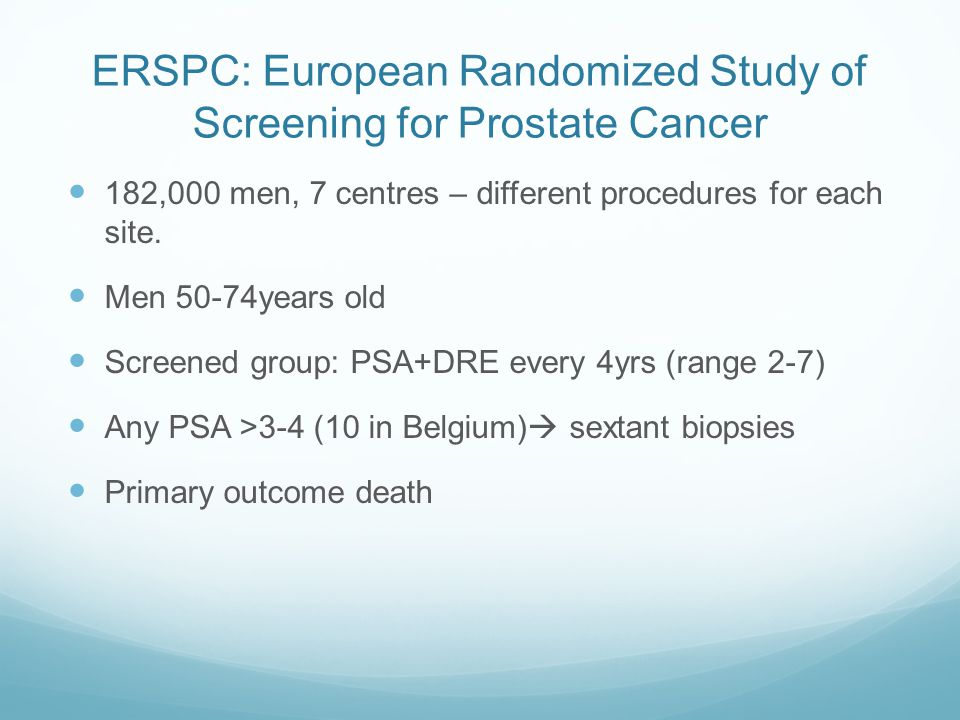 ERSPC: European Randomized Study of Screening for Prostate Cancer