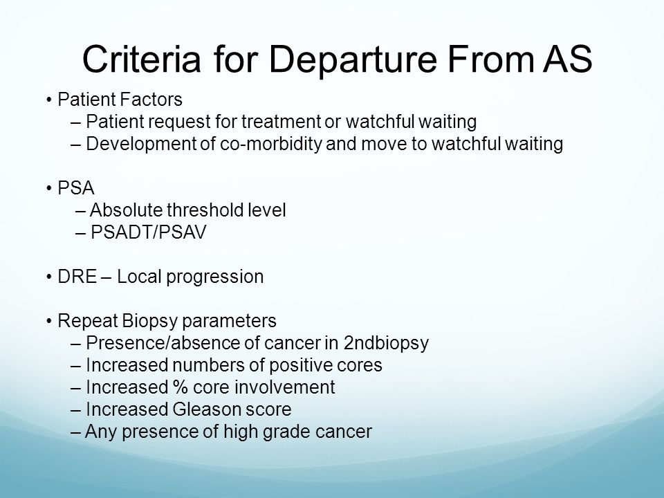 Criteria for Departure From AS
