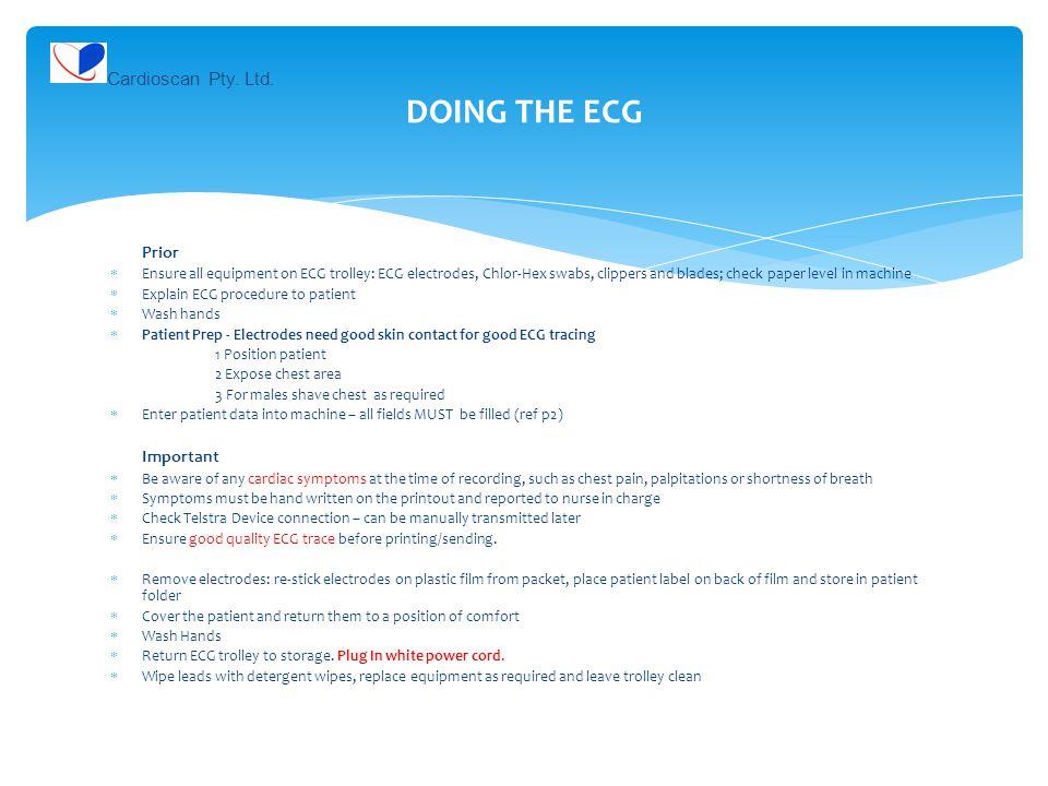 DOING THE ECG Cardioscan Pty. Ltd. Prior