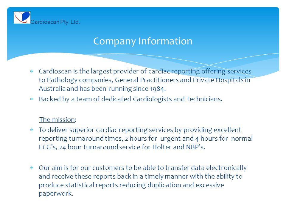 Cardioscan Pty. Ltd. Company Information.