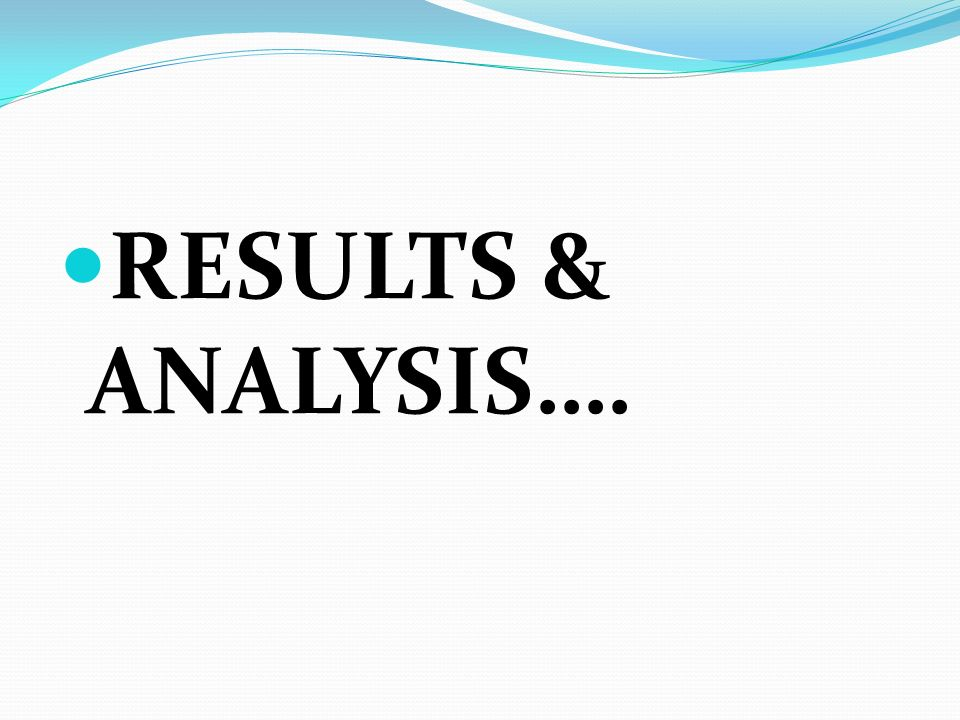 RESULTS & ANALYSIS….