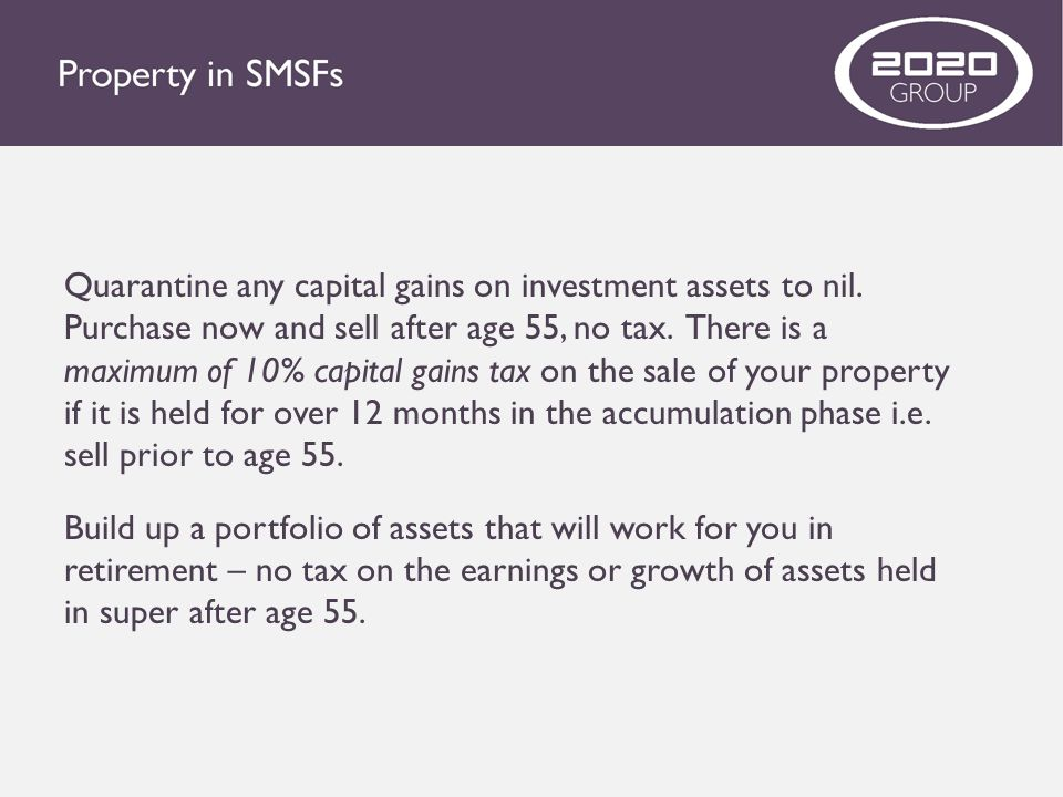 Quarantine any capital gains on investment assets to nil