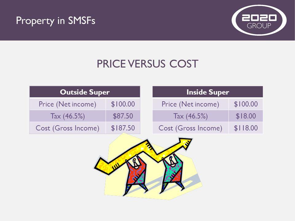 PRICE VERSUS COST Outside Super Price (Net income) $100.00 Tax (46.5%)