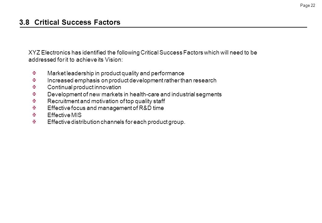 3.8 Critical Success Factors