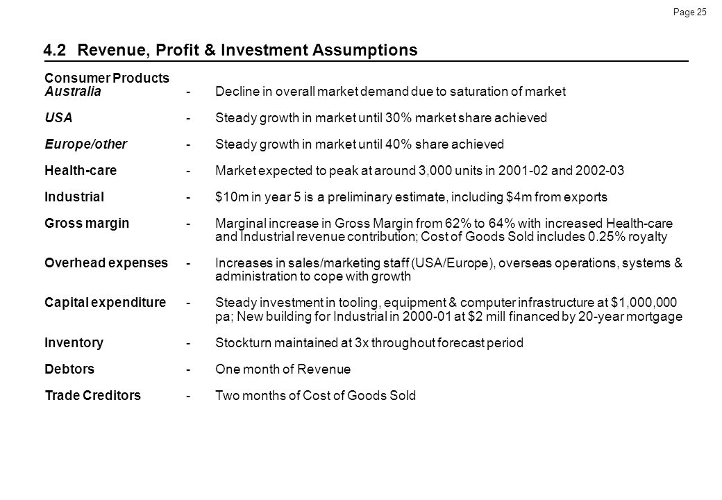 4.2 Revenue, Profit & Investment Assumptions